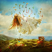 Floating Girl Metal Prints - Daydreams Metal Print by Aimee Stewart
