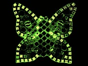Green Reliefs Metal Prints - Dayglo Butterfly Metal Print by Lisa Brandel
