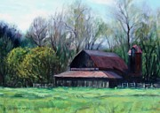 Old Barn Paintings - Days End by Bonnie Mason