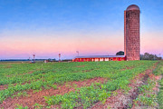 Silos Posters - Days End On The Farm - Rural Georgia Landscape Poster by Mark E Tisdale