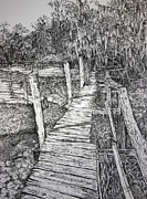 Edge Drawings Prints - Days Gone By Print by Janet Felts