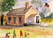 Old School House Painting Posters - Days Gone By Poster by Marilyn Smith
