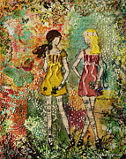 Beautiful Artwork Mixed Media - Days Like These Unique botanical Mixed Media artwork of sisters and friends by Janelle Nichol