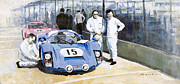 Sports Paintings - Daytona 1966 Porsche 906 Herrmann-Linge by Yuriy  Shevchuk