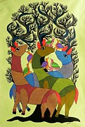 Indian Tribal Art Paintings - Db 208 by Durga Bai