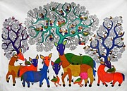 Gond Art Paintings - Db 212 by Durga Bai