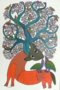 Gond Art Paintings - Db 215 by Durga Bai