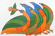 Gond Art Paintings - Db 218 by Durga Bai