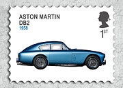 Aston Martin Framed Prints - DB2 Postage Stamp Framed Print by Mark Rogan