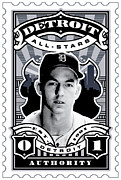 Hall Of Fame Framed Prints - DCLA Al Kaline Detroit All-Stars Finest Stamp Art Framed Print by DCLA Los Angeles