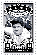 Cards Vintage Digital Art Prints - DCLA Babe Ruth Kings Of New York Stamp Artwork Print by DCLA Los Angeles