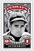 Red Socks Framed Prints - DCLA Bobby Doerr Fenways Finest Stamp Art Framed Print by DCLA Los Angeles