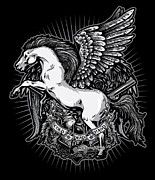 Greeting Cards Prints - DCLA Cold Dead Hand Pegasus Print by DCLA Los Angeles