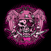 Greeting Cards Prints - DCLA Cold Dead Hand Pirate Pink Print by DCLA Los Angeles
