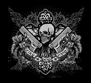 Cities Digital Art - DCLA Cold Dead Hands Skull Cross 1911 by DCLA Los Angeles