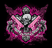Greeting Cards Prints - DCLA Cold Dead Hands Skull Cross 1911 Pink Print by DCLA Los Angeles