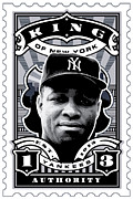Cards Vintage Digital Art Prints - DCLA Elston Howard Kings Of New York Stamp Artwork Print by DCLA Los Angeles