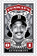 Red Socks Framed Prints - DCLA Jim Rice Fenways Finest Stamp Art Framed Print by DCLA Los Angeles