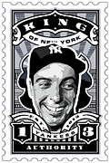 New York Yankees Framed Prints - DCLA Joe DiMaggio Kings Of New York Stamp Artwork Framed Print by DCLA Los Angeles