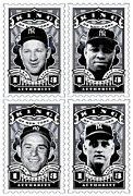 Joe Dimaggio Baseball Cards Art - DCLA Kings Of New York Combo Stamp Artwork 2 by DCLA Los Angeles
