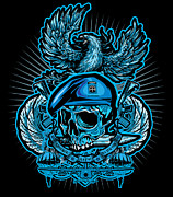 Cards Prints Posters - DCLA Los Angeles Skull 82nd Airborne Artwork Poster by DCLA Los Angeles