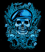 Cards Prints Posters - DCLA Los Angeles Skull Army Ranger Artwork Poster by DCLA Los Angeles