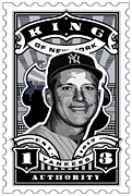 New York Yankees Framed Prints - DCLA Mickey Mantle Kings Of New York Stamp Artwork Framed Print by DCLA Los Angeles