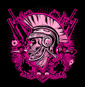 David Cook Framed Prints Digital Art - DCLA Skull Centurion Molan Labe Pink by Dcla