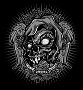 Cities Digital Art - DCLA Skull Cold Dead Hand Gray 3 by DCLA Los Angeles