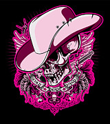 Greeting Cards Posters - DCLA Skull Cowboy Poster by DCLA Los Angeles