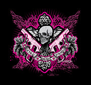 Greeting Cards Posters - DCLA Skull Cross Cold Dead Hand Pink Poster by Dcla