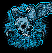Greeting Cards Posters - DCLA Skull Eagle Poster by DCLA Los Angeles