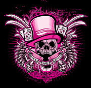 Greeting Cards Posters - DCLA Skull Glock And Roll Pink Poster by Dcla