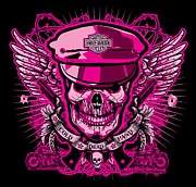 Cities Digital Art - DCLA Skull Harley Davidson Pink by DCLA Los Angeles