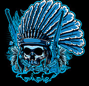 Cities Digital Art - DCLA Skull Indian Chief by Dcla