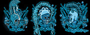 Cities Digital Art - DCLA Skull Spartan Marine Molon Labe Compilation by DCLA Los Angeles