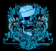 Cities Digital Art - DCLA Skull US Navy Davey Jones KIng Neptune Art by Dcla