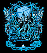 Greeting Cards Posters - DCLA Skull US Navy Squid Life Art Poster by Dcla