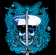 Greeting Cards Posters - DCLA Skull USMC NCO With Mameluke Sabre Sword Poster by Dcla
