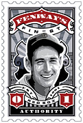 Boston Red Sox Framed Prints - DCLA Ted Williams Fenways Finest Stamp Art Framed Print by DCLA Los Angeles