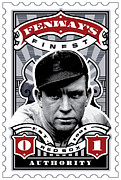 Mlb Metal Prints - DCLA Tris Speaker Fenways Finest Stamp Art Metal Print by DCLA Los Angeles