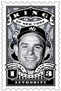 New York Yankees Framed Prints - DCLA Yogi Berra Kings Of New York Stamp Artwork Framed Print by DCLA Los Angeles