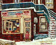 De Bullion Street Depanneur Kik Cola Montreal Streetscenes Print by Carole Spandau