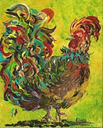 Rooster Prints - De Colores Rooster #2 Print by Eloise Schneider