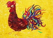 Pop Mixed Media Metal Prints - De Colores Rooster Metal Print by Eloise Schneider