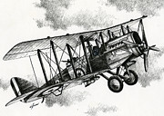 Biplane Drawings - De Havilland Airco DH.4 by James Williamson