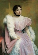 Drapery Prints - De Nittis Giuseppe, Portrait Of A Lady Print by Everett