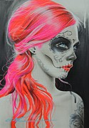 Sugar Skull Prints Posters - De Rerum Natura Poster by Christian Chapman Art