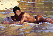 Male Nude Paintings - De Tardinha by Douglas Simonson