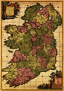 Vintage Map Paintings - De Wits map of Ireland 1700 by MotionAge Art and Design - Ahmet Asar